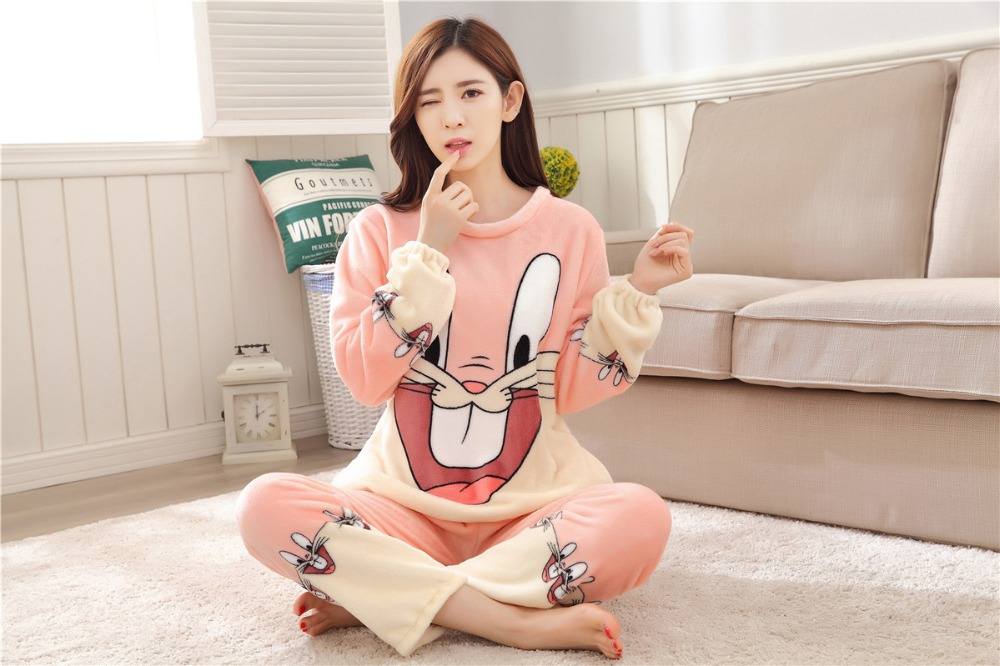 Women Pajamas Set For Autumn cute cartoon pink Women Clothes Sleepwear Nightgown For Women Long Sleeve And Pants Hot Sale pijama 62