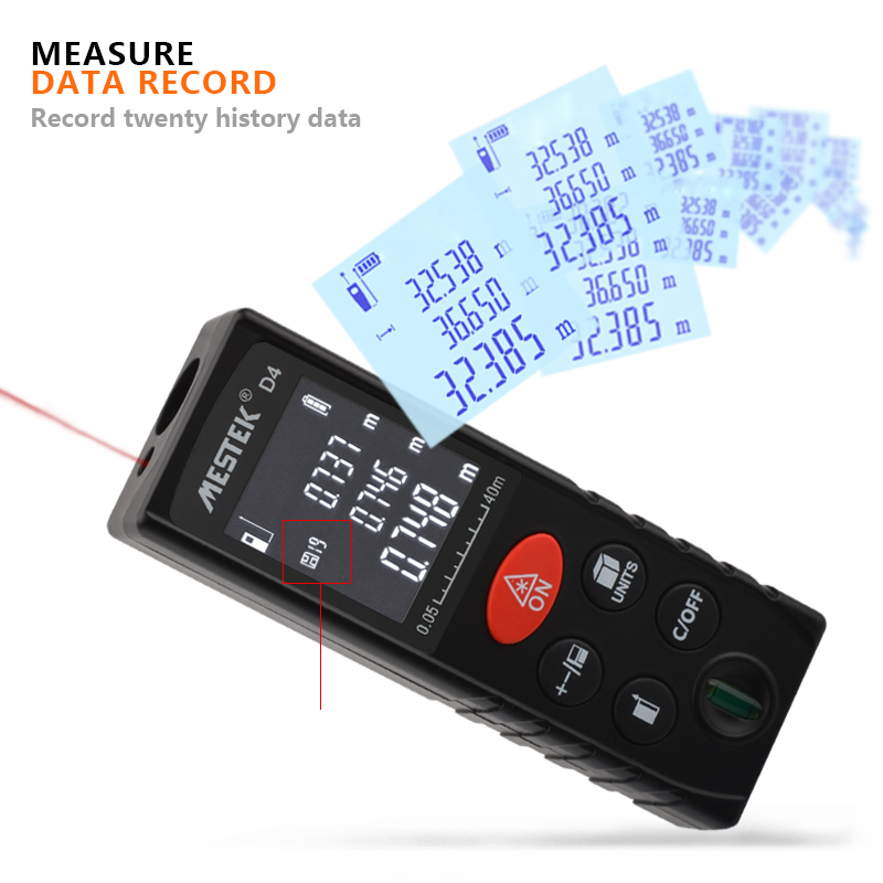 MESTEK 40M/60M/100MLaser Distance Meter with 99 Groups of Data Records for Quick Measurement 5