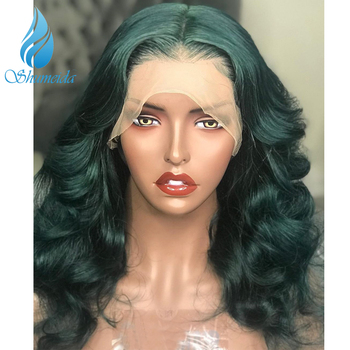 Green Color Lace Front Wigs With Baby Hair Loose Deep Wave Brazilian Remy Human Hair Wigs Pre Plucked Hairline 13*6 Frontal Wig 3