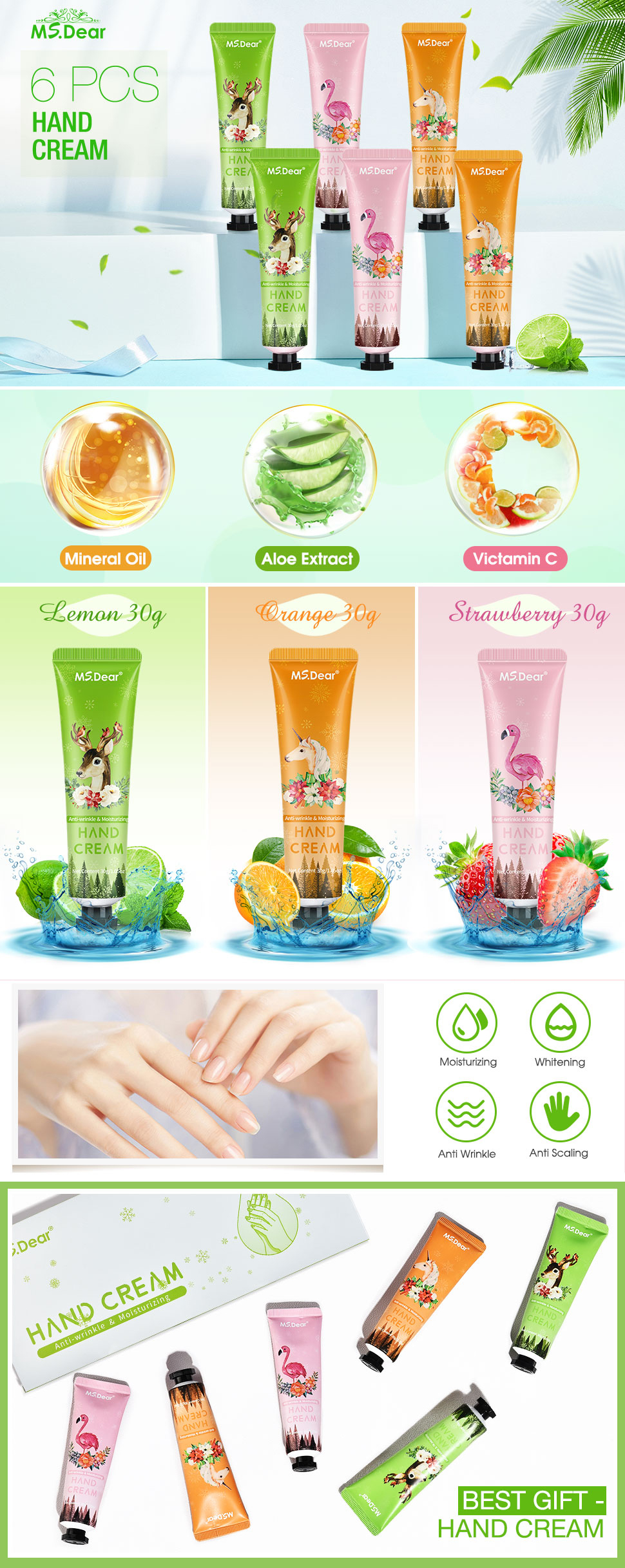 6PCS/set Moisturizing Hand Cream Anti Wrinkle Lemon Mineral Oil Fruit Extracts Nature Healthy Skin Whitening Hand Care Creams