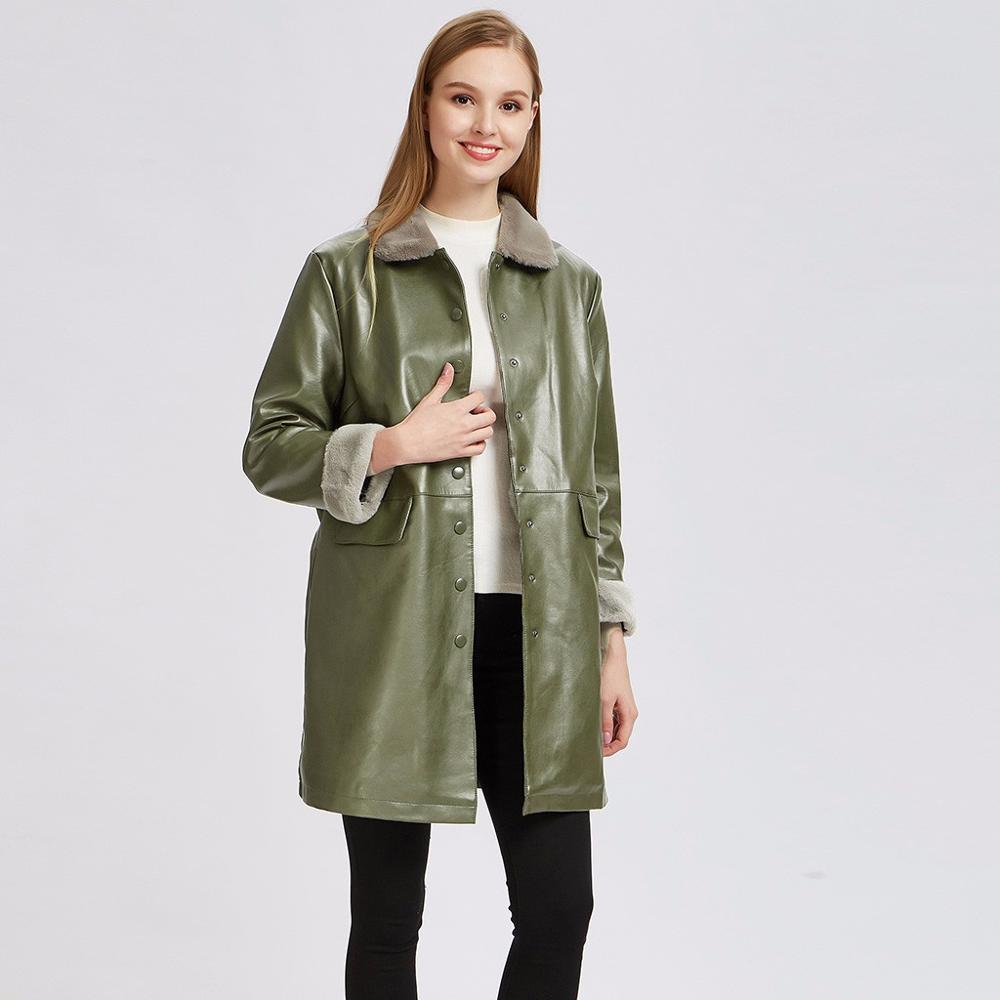 Women's Long Jacket Thicken   Leather   Female Outerwear Medium Long Autumn Winter Thicken Coat Elegant Long Women's Coat #20