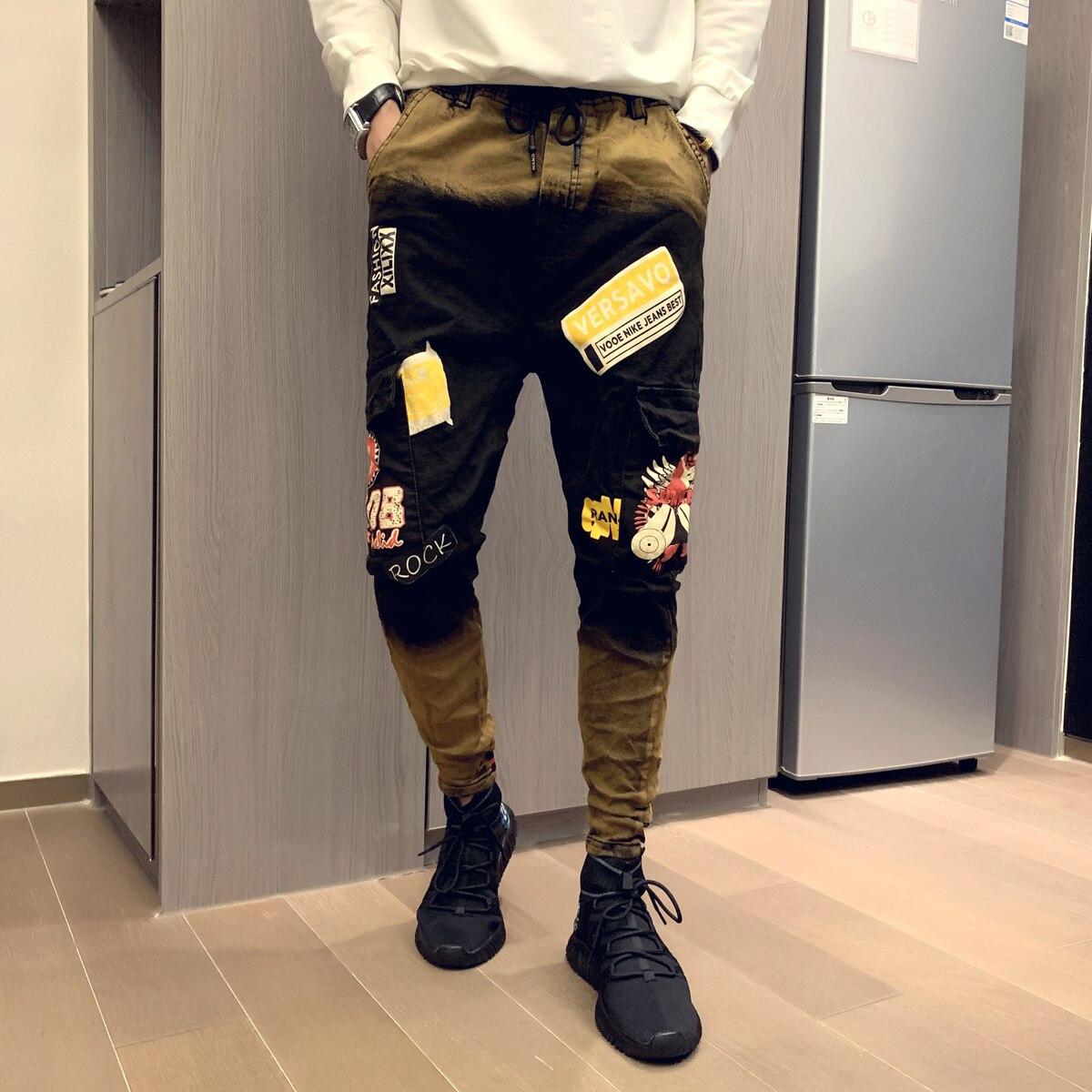 2019 Autumn Men's Fashion Print Jeans Male Colored Drawing Painted Slim Denim Pants Elastic Black Long Trousers Designer Jeans