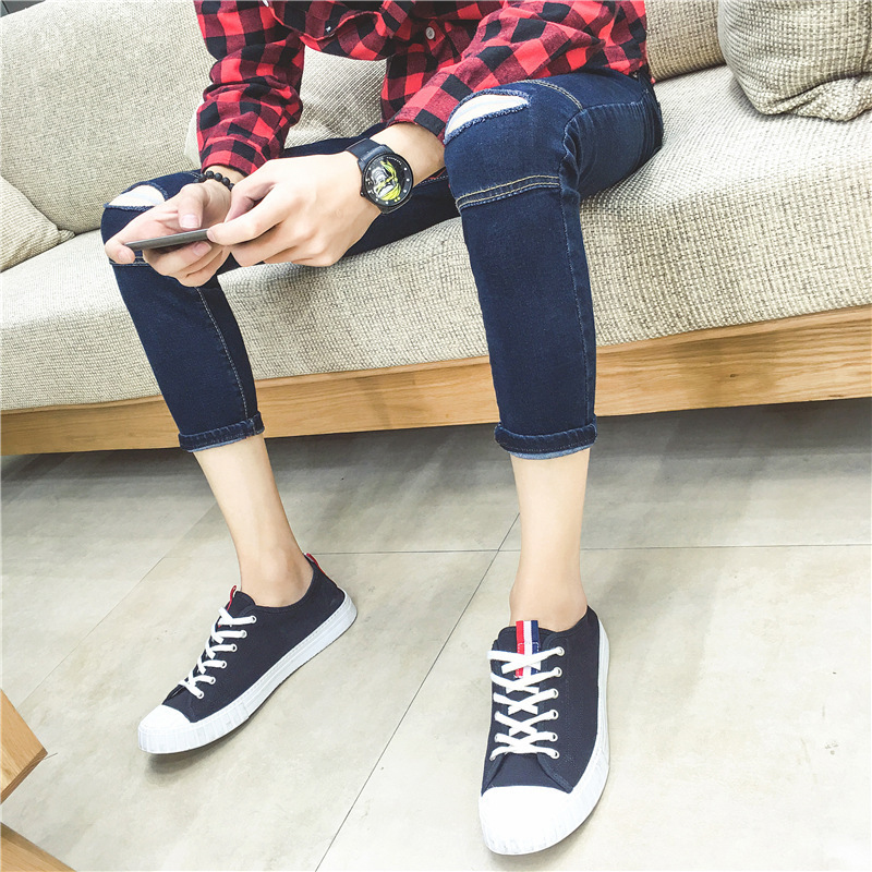 Autumn New Style Jeans Men's Knee With Holes Skinny Pants Men's Leggings Teenager With Holes Pants Men's Fashion