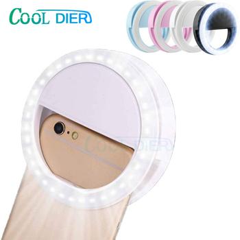 COOL DIER 36 LED Selfie Ring Light przenośny Flash uniwersalny telefon dodatkowe oświetlenie Selfie wzmacniające światło wypełniające dla iphone #8217 a tanie i dobre opinie CN (pochodzenie) 3300-5600 k