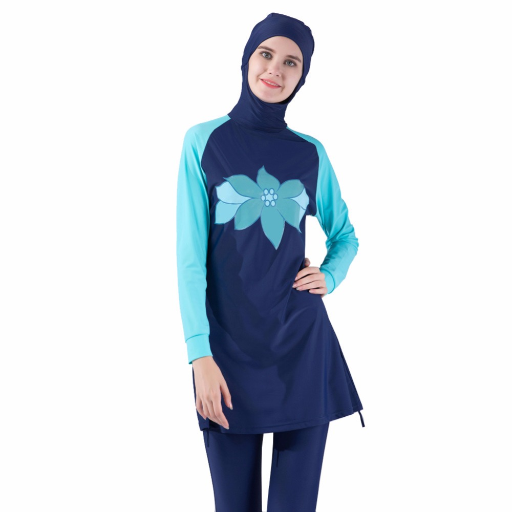 Women Girls Muslim Female Bathing Wear Plus Size Burkinis Muslim Swimwear Women Islamic Full Cover Floral Swim Suits