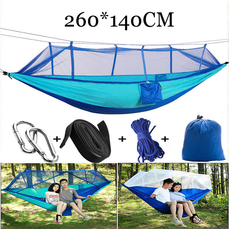 Outdoor Camping Hammock With Hammock Tree Straps Portable Parachute Nylon Hammock For Backpacking Travel