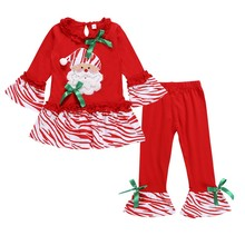 Toddler Baby Girl Clothes Kid outfits Christmas Girl Xmas Santa Long Sleeve Top T-shirt Pants cute Outfit Set Girls Clothes стоимость