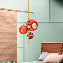 Modern Restaurant Red Glass Pendant Lights Lighting Nordic Creative Cafe Loft Living Room Lamp Bar Bedroom Study Decor Fixtures japan style modern concise creative wood pendant lamp cafe bar restaurant bedroom parlor study decoration lamp free shipping
