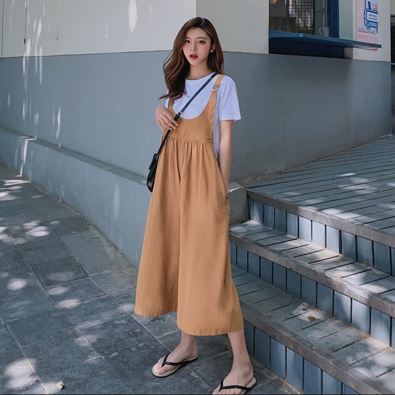 Photo Shoot Main Push INS Harajuku Laziness-Style Khaki Yellow Capri Wide-Leg Suspender Strap Onesie T-shirt Funny GIRL'S Set