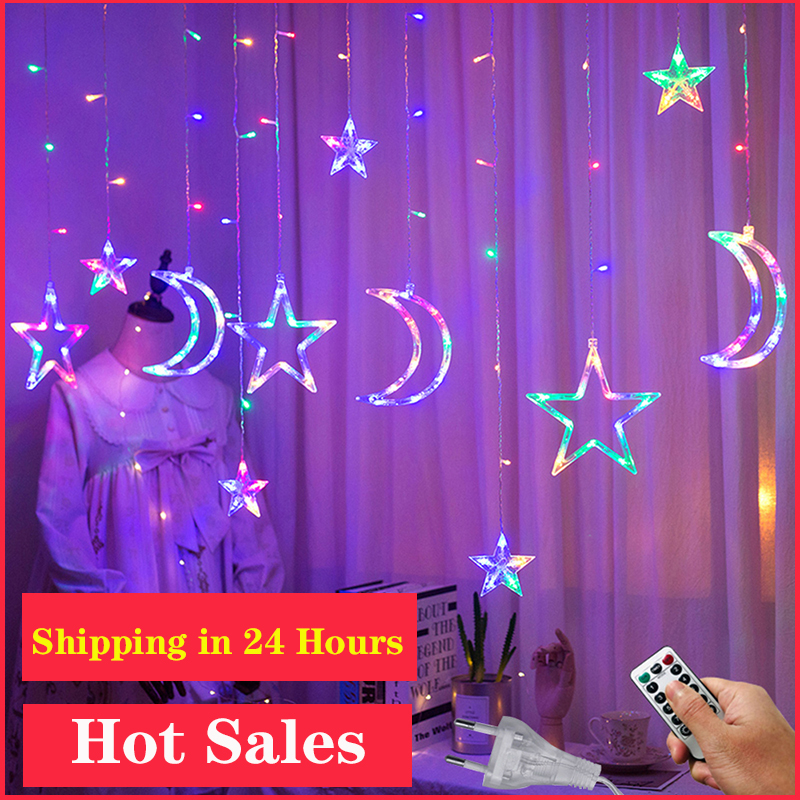 3.5M 220V LED Moon Star Lamp Christmas Garland String lights Fairy Curtain light Outdoor For Holiday Wedding Party Decoration
