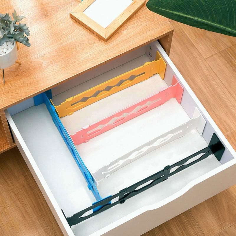 Adjustable Plastic Drawer Dividers Organiser Desktop Drawer Storage Retractable Office Kitchen Free Combination Partition Board