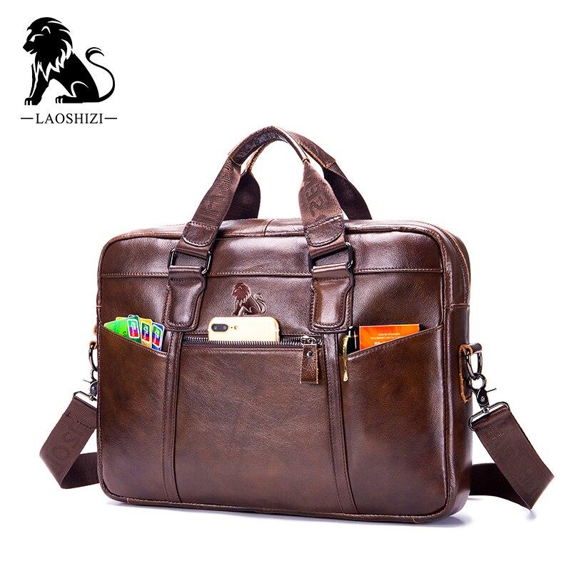 LAOSHIZI Cow Leather Men's Briefcase Roomy Laptop Bag Business Handbag For Male