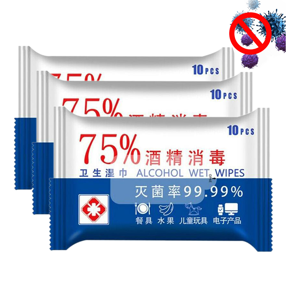 30 PCS Disposable Alcohol Wipes Sterilization Portable Wipes Antibacterial Cleaning Skin Cleaning Care Alcohol Wet Wipes Pads