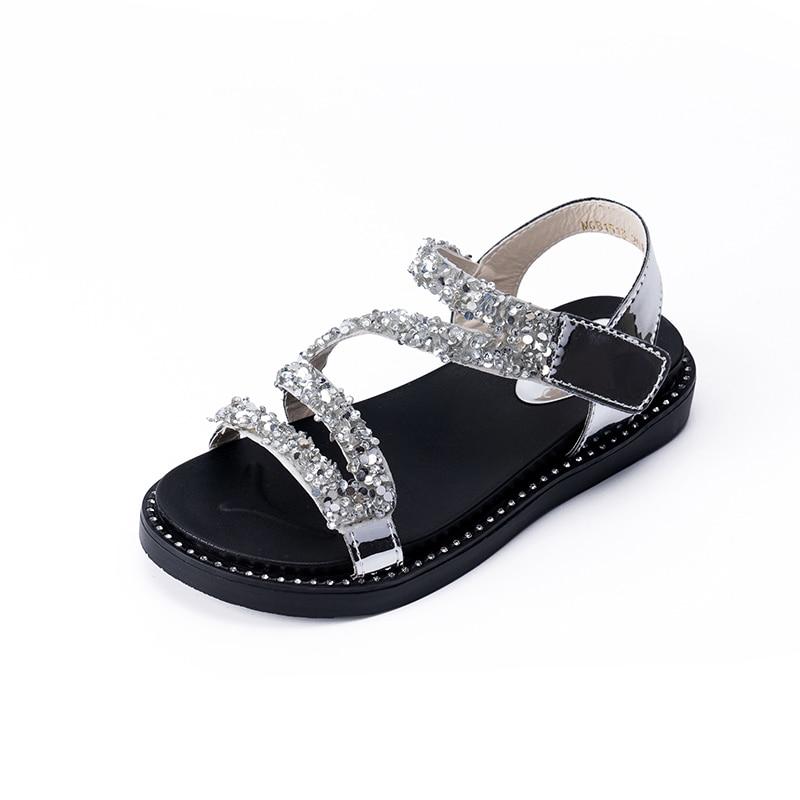 2020 New Fashion Princess Glitter Little Girl Summer Sandals For Kids Shoes Children Beach Sandals 3 4 5 6 7 8 9 10 11 12 Years