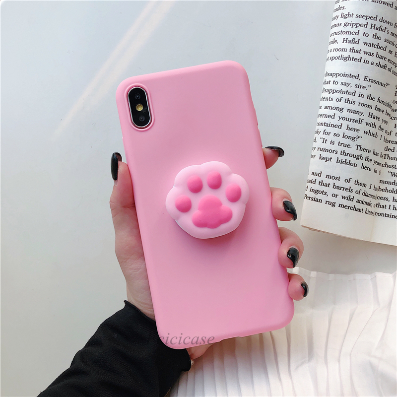 Cute Stand Soft Case For Samsung Galaxy S8 S9 S10 5G Lite Plus S6 S7 Edge Silicone Cartoon Phone Holder Back Cover