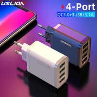 USLION-cargador rápido de móvil para iPhone 11, Xr, Xiaomi y Huawei, adaptador de cargador de pared de viaje con 4 puertos USB QC 3,0, carga rápida 3,0