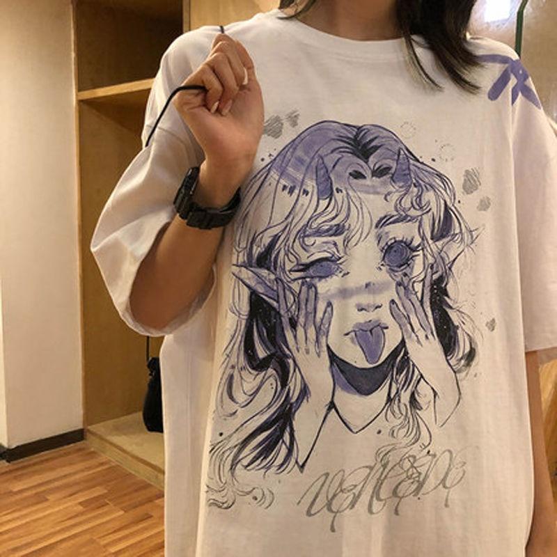 Frauen Casual T-shirt Weiß Cartoon Lustige Mädchen Gedruckt Streetwear Weibliche Tops T Kurzarm Mode T-shirt Hip Hop Kleidung