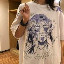 Damska koszulka na co dzień biała kreskówka zabawna dziewczyna z nadrukiem Streetwear bluzki damskie koszulka z krótkim rękawem moda T koszula ubrania hip-hopowe