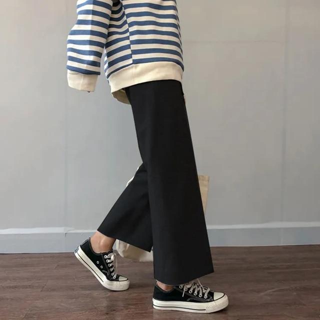 Cusual Pants Women Spring Summer Ankle-length Loose Wide Leg Elastic High Waist Oversize Black Simple Comfortable Elegant Ladies 4