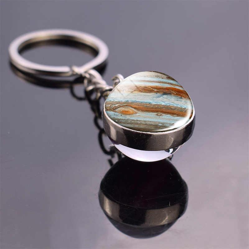 Lua cheia esfera de cristal bola de vidro chaveiro artesanal duplo lado bola de vidro pingente sistema solar galáxia astronomia jóias