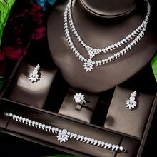 HIBRIDE Luxe Classic White Gold Kleur AAA + CZ Steen Bruiloft Bruids Jurk Accessoires partij Sieraden Sets voor Vrouwen N 1197