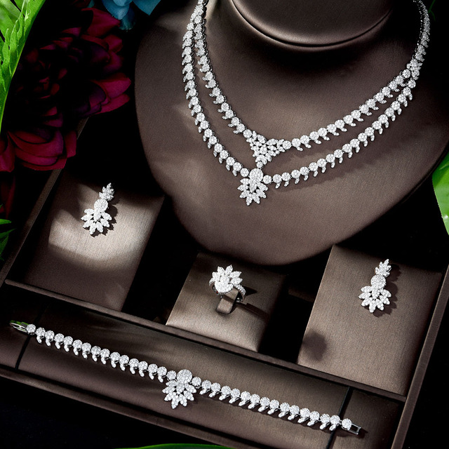 HIBRIDE luxe classique couleur or blanc AAA + CZ pierre mariage robe de mariée accessoires fête bijoux ensembles pour les femmes N 1197