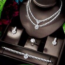Роскошный классический свадебный комплект HIBRIDE из белого золота с фианитами класса ААА +, аксессуары для свадебного платья, комплекты ювелирных изделий для вечеринки для женщин