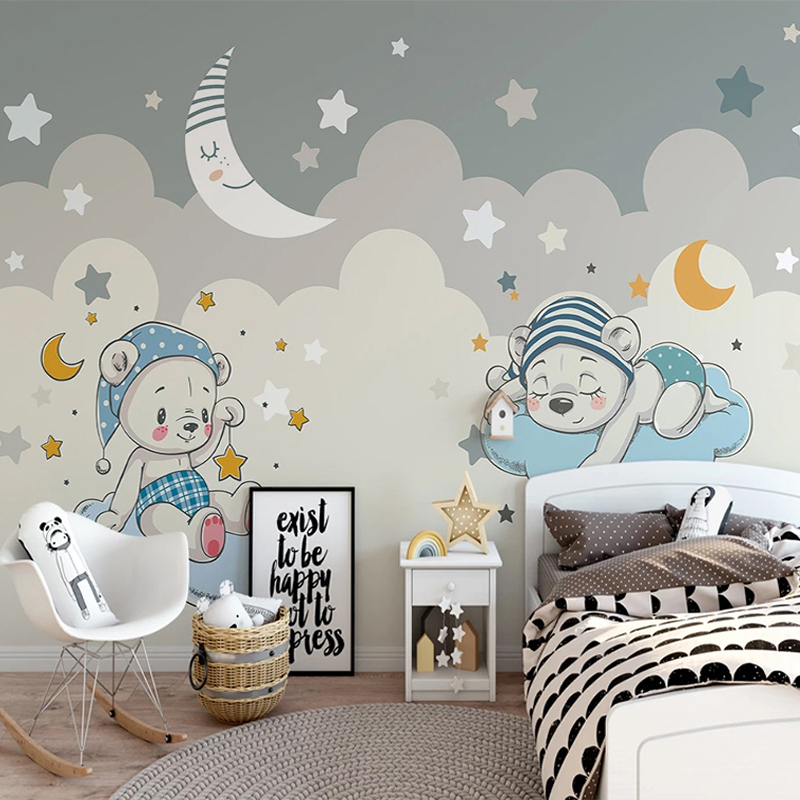 Custom 3D Photo Wallpaper For Cartoon Little Bear Moon Stars Children Room Boys Room Bedroom Background Wall Art Mural Wallpaper