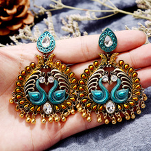 Crazy Feng Indian Tribal Brass Earring Dangle Drop Gypsy For Women Boho Vintage Peacock Jewelry
