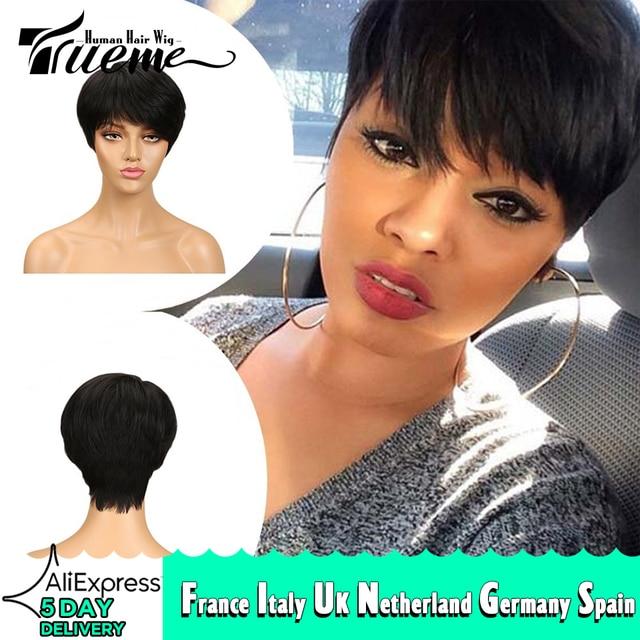 Truemeナチュラルダークブラウン赤ワイン色人毛 100% かつら黒人女性のためのピクシーカットフルかつらレミーブラジルの髪