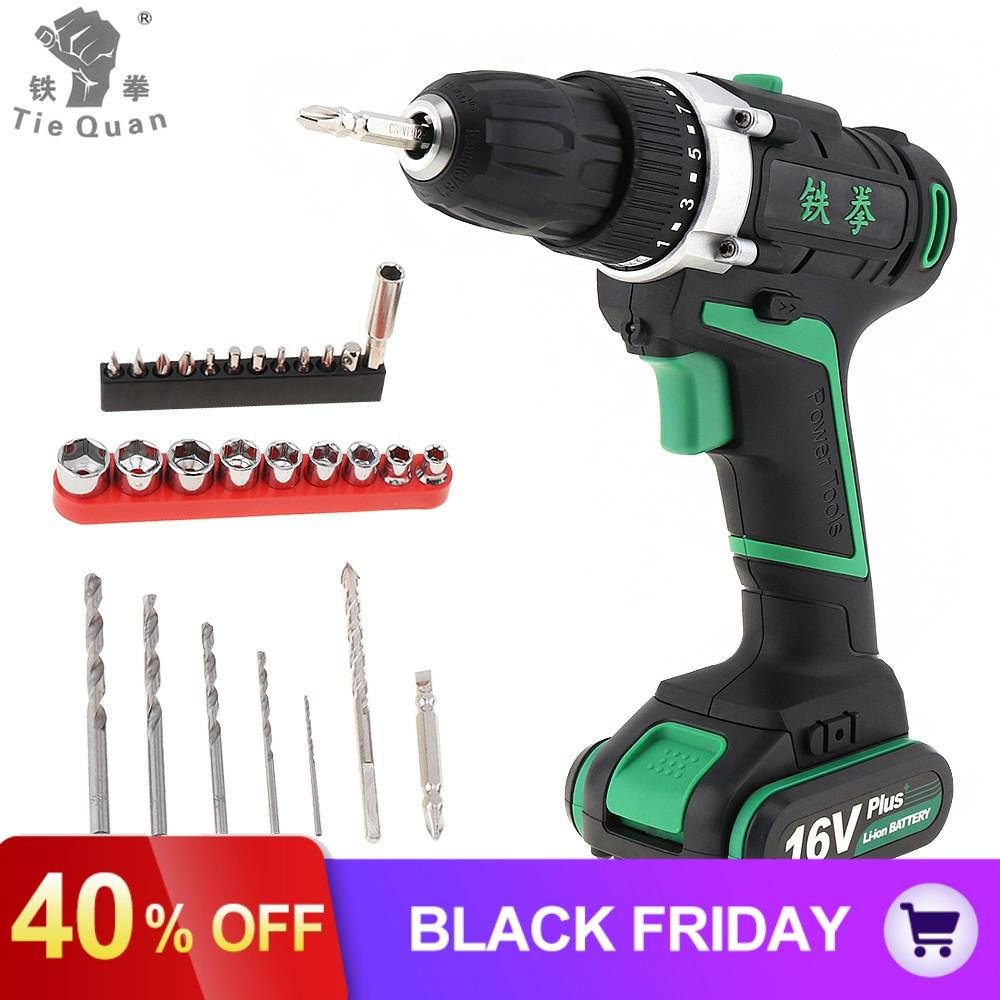 <font><b>16V</b></font> Lithium-Ion <font><b>Battery</b></font> Cordless Electric Drill Screwdriver with Rotation Adjustment and 29pcs Screw Driver Accessories Set image