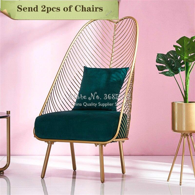 2pcs Customizable Luxury Iron Golden Sofa Leisure Chair With High Back Nordic Furniture Sponge Cushion Living Room Balcony