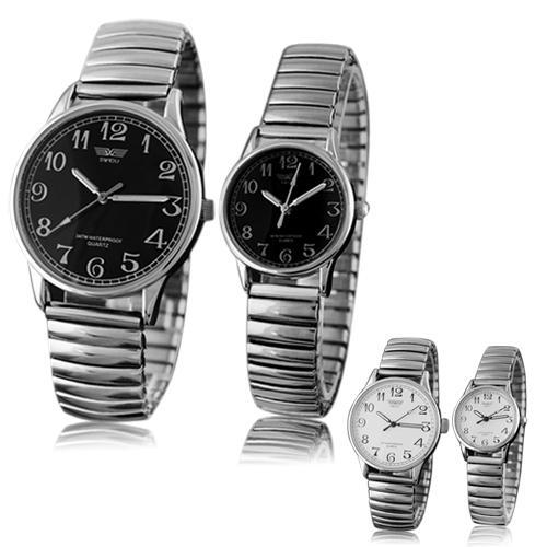 Men's Women's Couple Lover Elastic Alloy Quartz Analog Wrist Watch Fashion Gift
