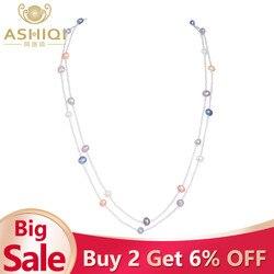 ASHIQI натуральный пресноводный барочный жемчуг ожерелье для женщин 120 см длинные белые хрустальные бусины с 925 серебряной застежкой ювелирны...