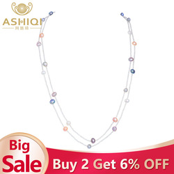 ASHIQI Natural Freshwater Baroque Pearl Necklace For Women 120cm Long White Crystal Beads With 925 Silver Clasp Jewelry 2019