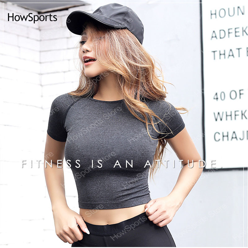 Short Sleeve Women Yoga Top Female Shirt Sports Top Fitness Shirt Seamless Workout Running Clothes Sports Wear For Women Gym Top