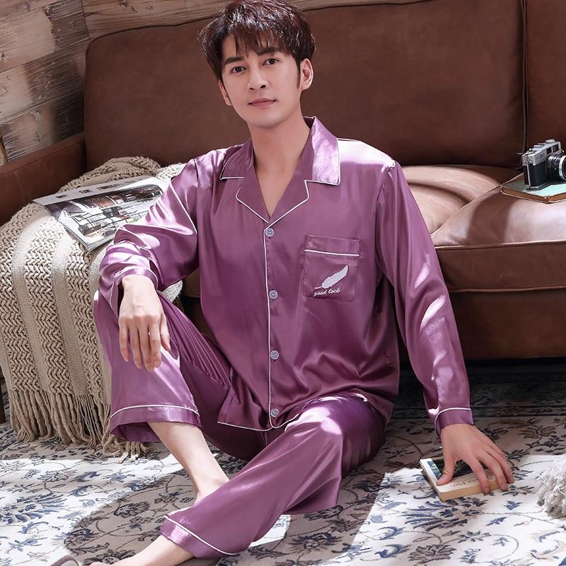 Набор к 2020 году новые пижамы Мужские свадебные 2шт искусственный шелк сна задает случайные пижамы костюм лето атласная с длинным рукавом нагрудные мужской домашняя одежда