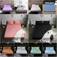 Solid Fitted Sheet Brushed Sanding Bedding Linens Bed Sheets with Elastic Band for Mattress Protector Cover Queen Black White solid fitted dress with choker