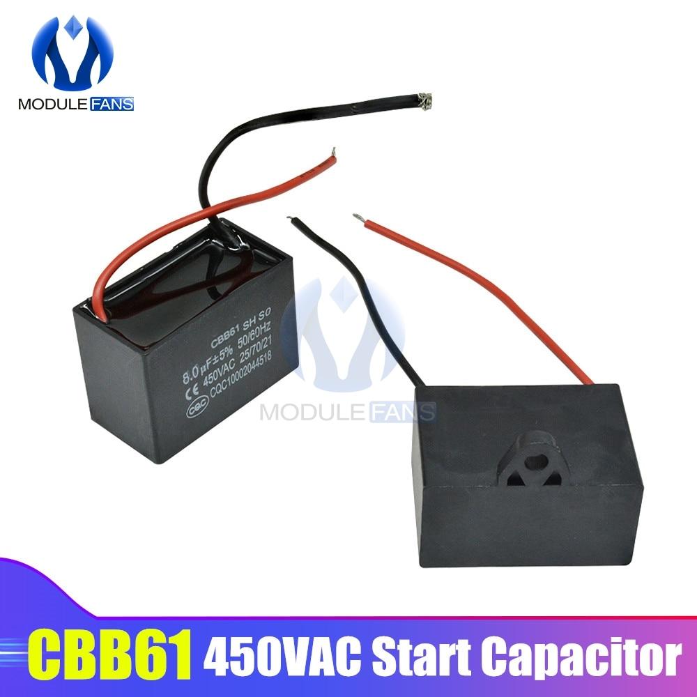 CBB61 AC moteur vitesse courir condensateur ventilateur réfrigérateur démarrage condensateur Terminal ventilateur de plafond moteur CBB courant Rectangle condensateur