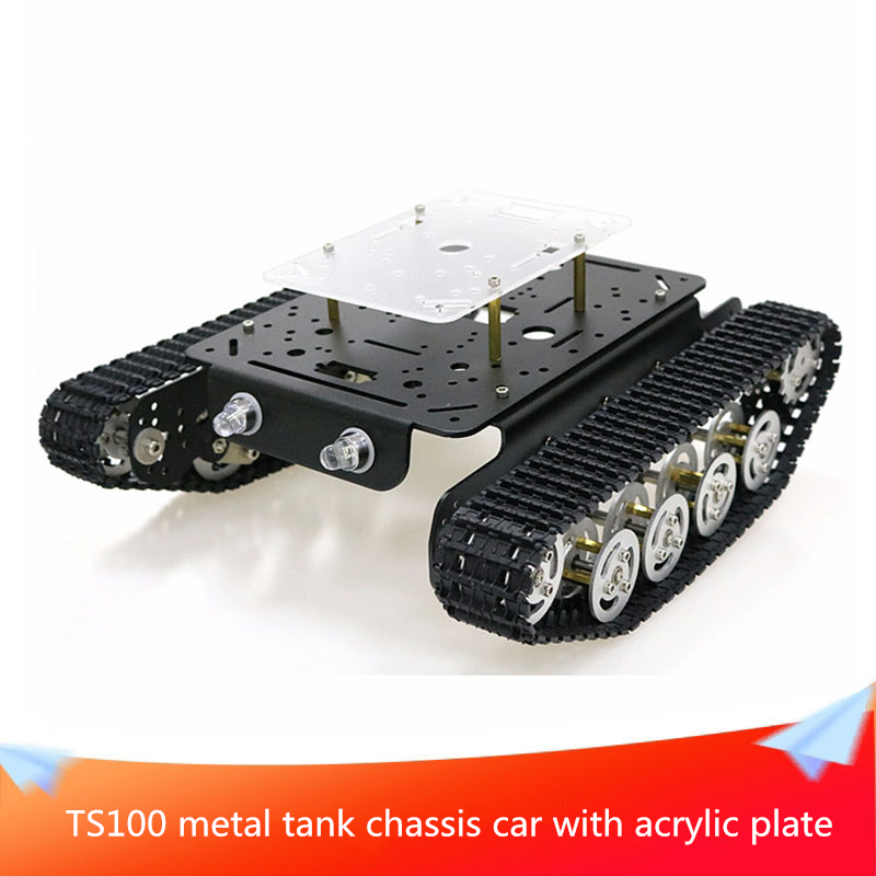 <font><b>TS100</b></font> Metal Shock-absorbing <font><b>Tank</b></font> Chassis Car with Layer Damping Effect System Acrylic Plate Kit 2pcs DC Motors DIY RC Parts image