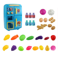 Toy Set Birthday Safe Music Gifts Double door Refrigerator Small Kids Colorful Light Play House Cartoon Steam Electric Simulated