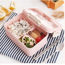 Microwave lunch box wheat straw tableware food storage container children kids school office portable lunch box 1100ml microwave lunch box wheat straw dinnerware food storage container children school office portable bento box kitchen tools