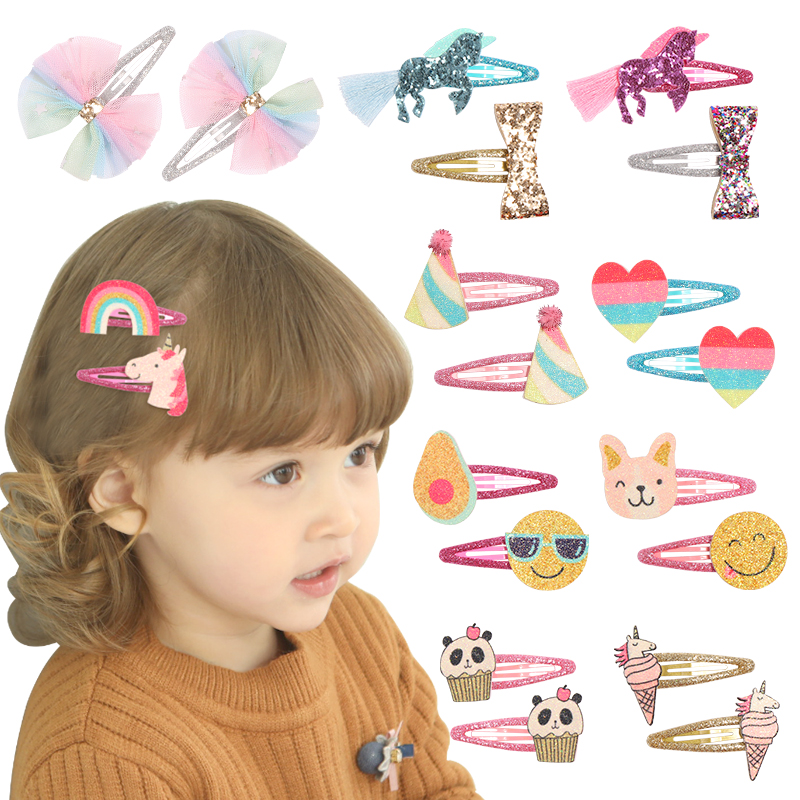 New Glitter Unicorn Hairpins Rainbow Bowknot Hair Clips Glitter Felt Kids Barrettes Princess Girls Hair Accessories 2pcs/lot