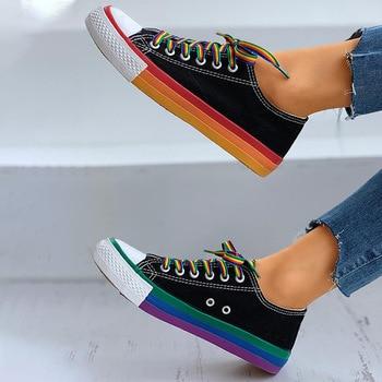 Women Flat Sneakers Lace up Colorful Graffiti Platform Female PU Flats Fashion Ladies Walking Vulcanized Shoes 2021 Spring New 8