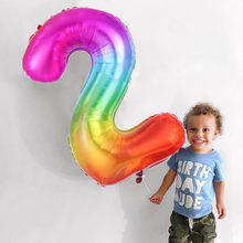 Ballons à hélium en feuille numérique arc-en-ciel de 40 pouces | 16 18 21 30 40 50 ans, décoration de fête d'anniversaire, ballons de décoration pour enfants et adultes