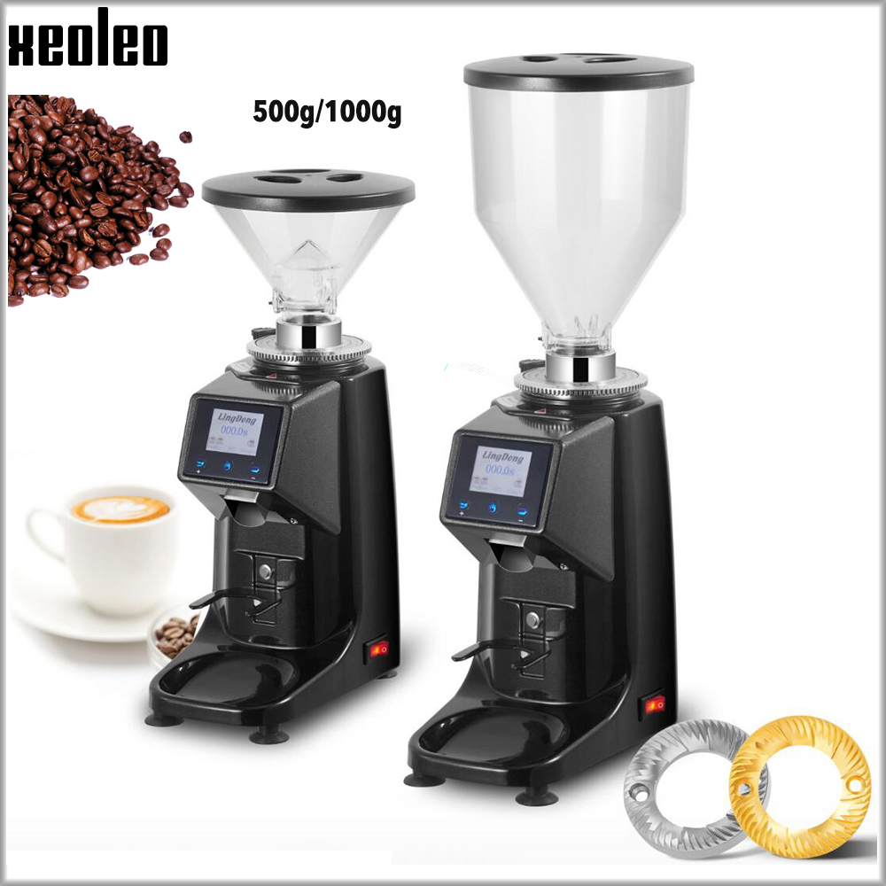XEOLEO Electric Coffee Grinder 250W Espresso Coffee Grinder Flat Whetstone 500g/1000g Coffee Miller Touch Panel Bean Crush Maker