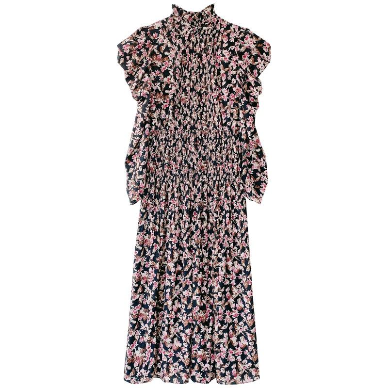 Kuzuwata Vintage Stand Collar Puff Sleeve Women Dress 2021 New Slim Waist Pleated Vestidos Mid Length Flower Print Dresses 3