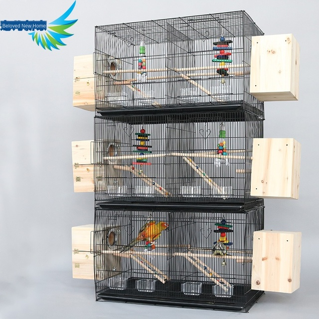 Thickened galvanized large bird cage double-spaced design breeding pet nest metal iron pull chassis tiger skin parrot house 4