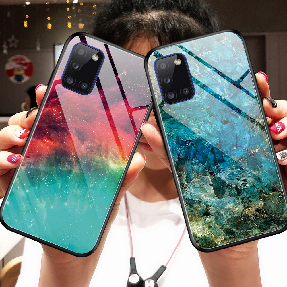 For <font><b>Samsung</b></font> S9 S10 S20 M31 A31 A51 A71 A20 A30 <font><b>A50</b></font> A70 New Gradient Tempered <font><b>Glass</b></font> <font><b>Case</b></font> Phone Back Cover Soft Edge Shell Skin image