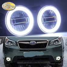 SNCN 3-IN-1 Functions Auto LED Angel Eyes Daytime Running Light Car Projector Fog Lamp For Subaru Forester 2013 - 2016 2017 2018 wholesale abs daytime running lamp auto car drl front lamp for subaru forester fit for forester 2013